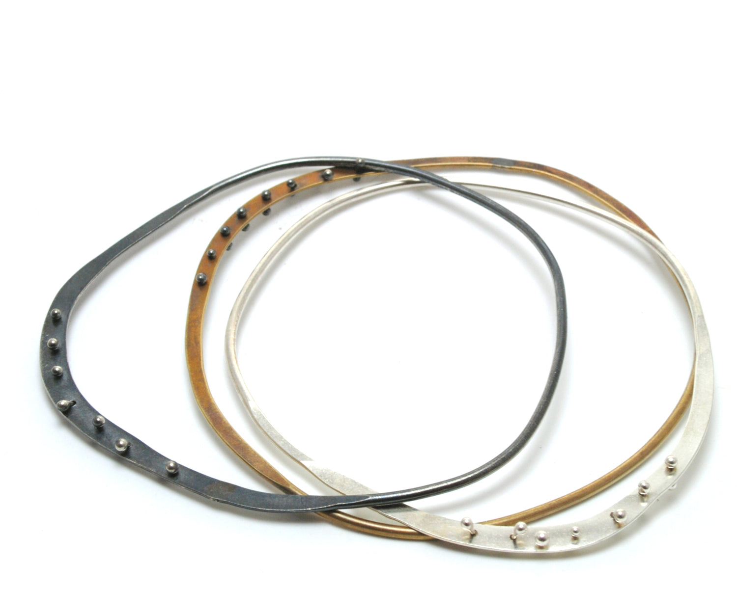 Oxidized Riveted Edge Bangle | Olivia de Soria