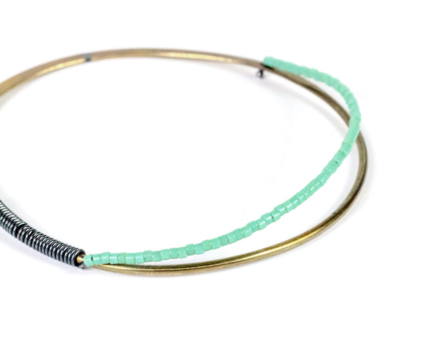 Brass Beaded Elliptical Bangle