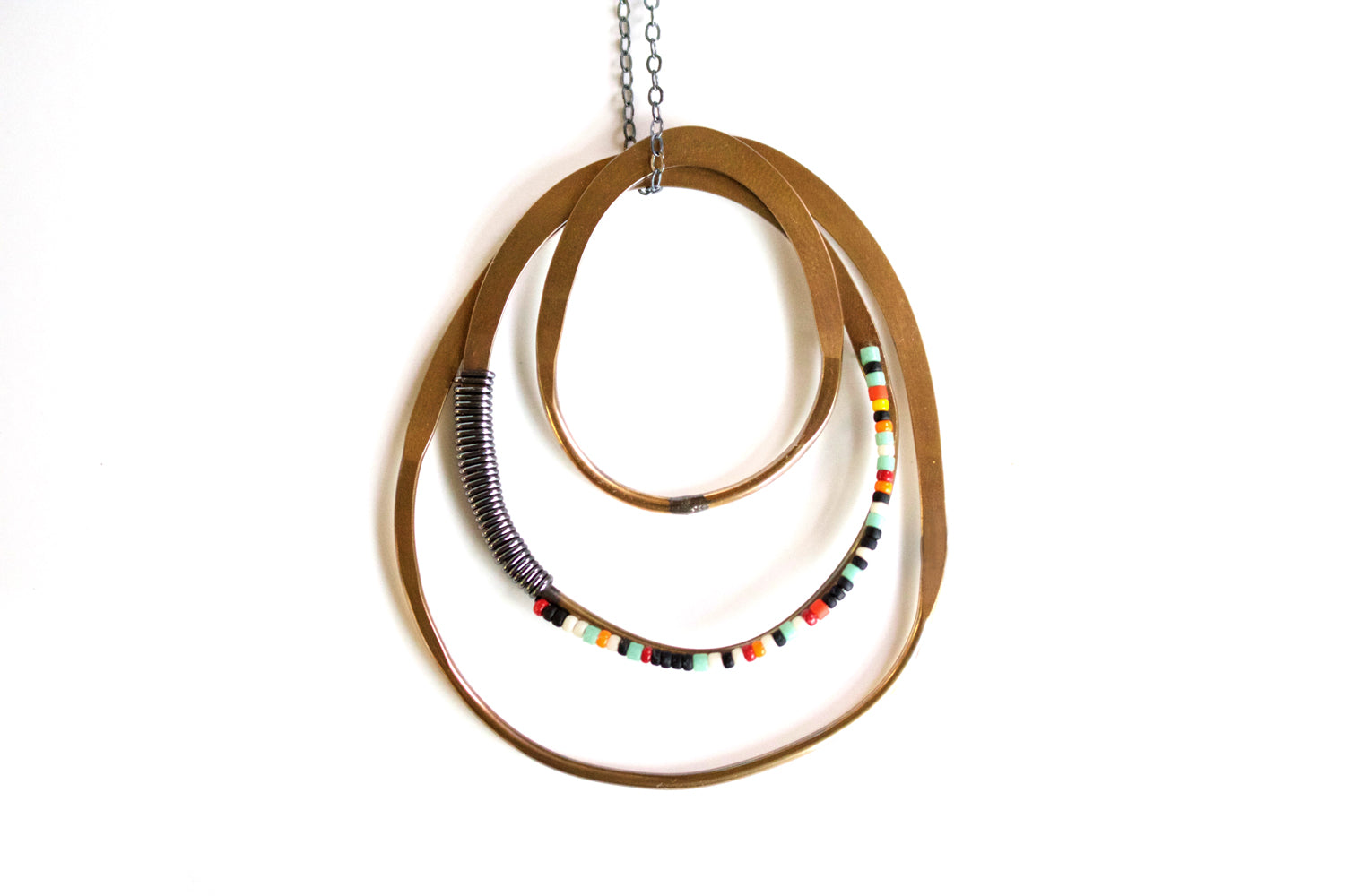 Beaded Hoop Necklace Olivia de Soria