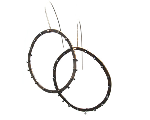 Brass Riveted Circle Earrings Olivia de Soria