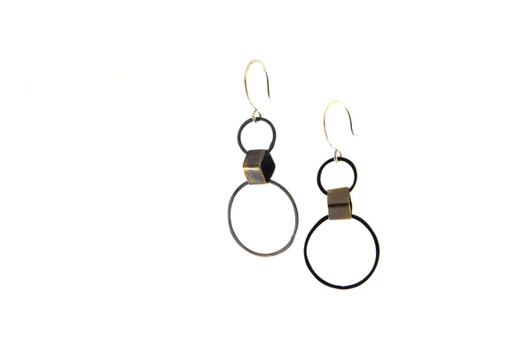 Silver Circles and Brass Square Earrings