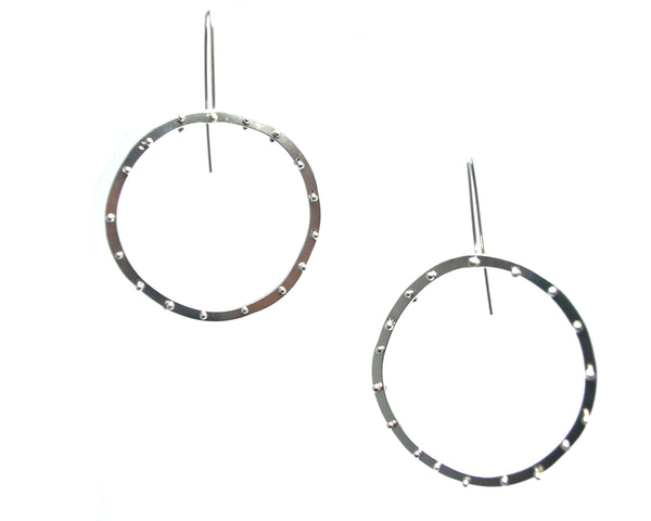 Silver Riveted Circle Earrings