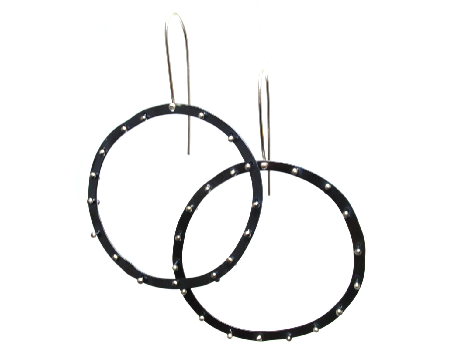 Oxidized Riveted Circle Earrings