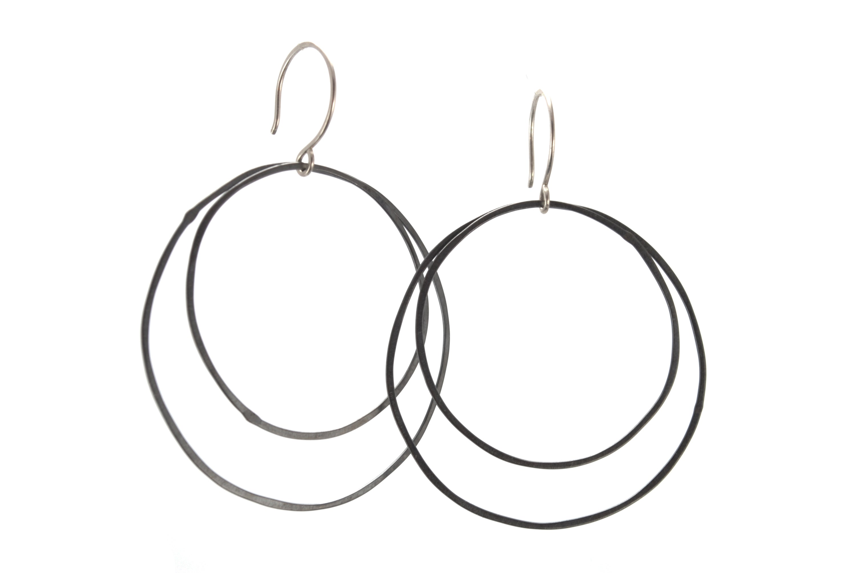 Oxidized Silver Hoop Earrings | Olivia de Soria