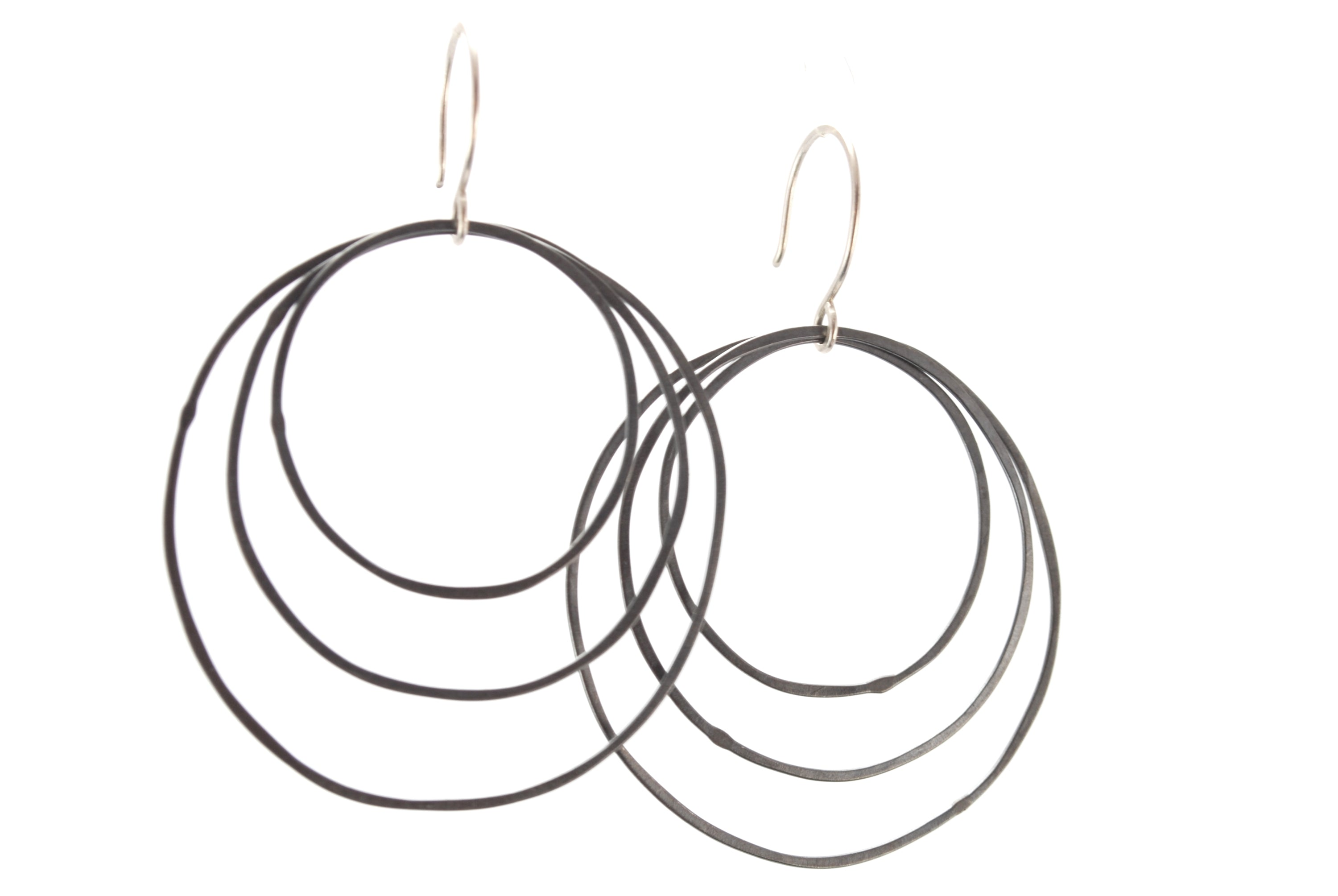 Oxidized Triple Hoops Earrings
