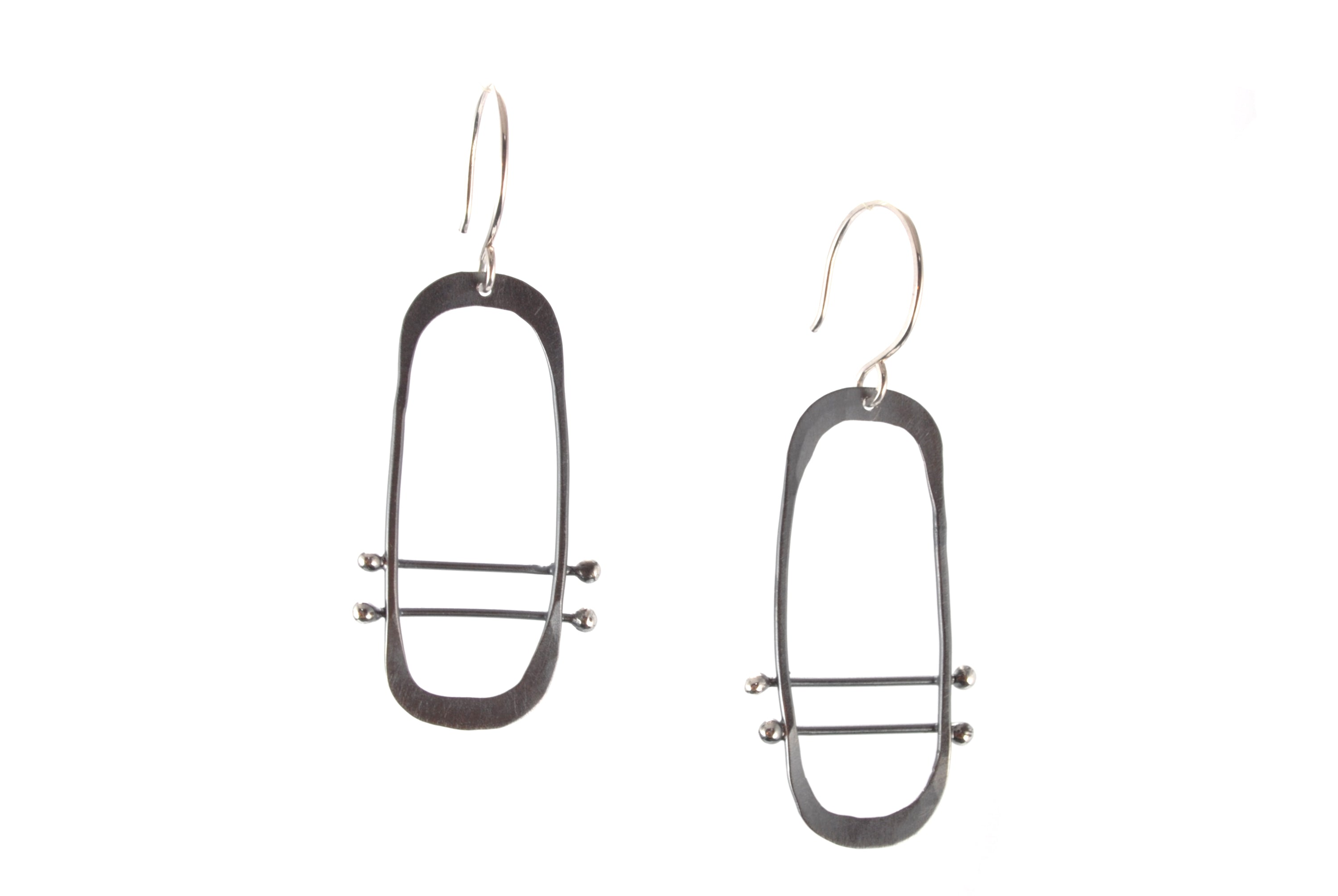 Oxidized Silver Oval Earrings