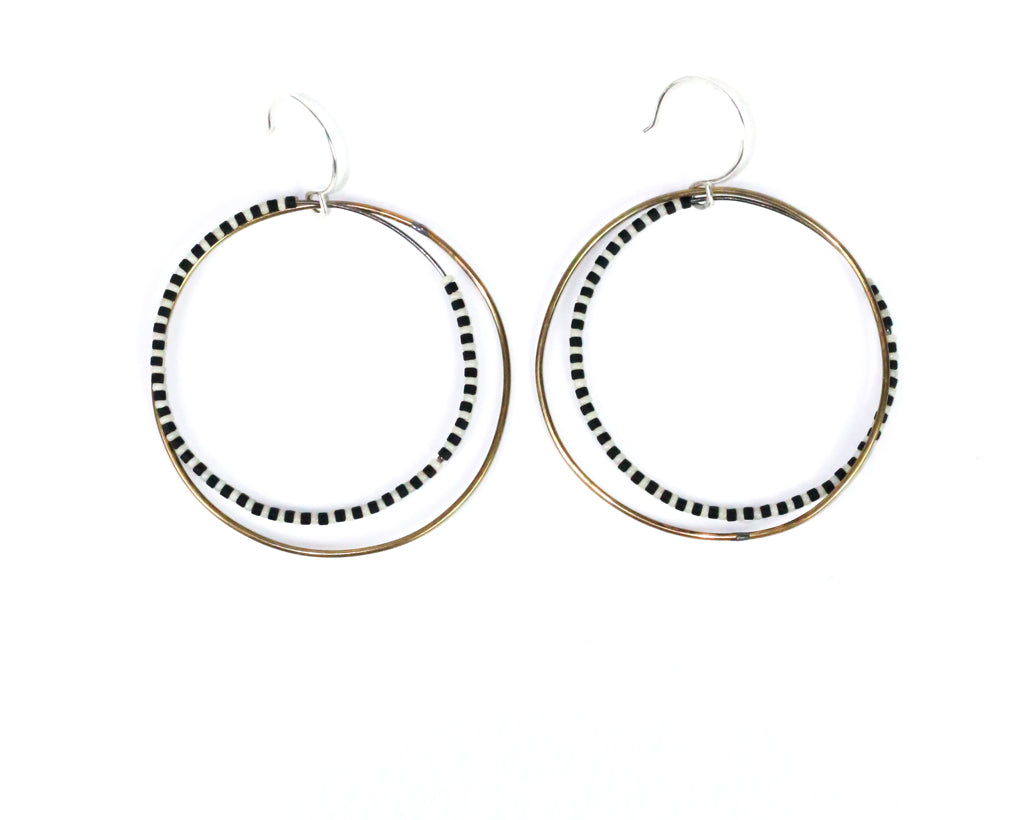 Brass and Silver Zebra Hoops Olivia de Soria