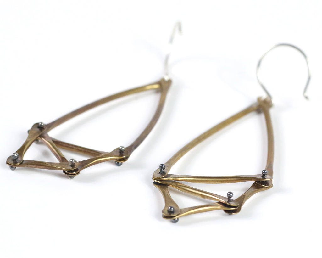 Brass and Silver Geometric Earrings Olivia de Soria