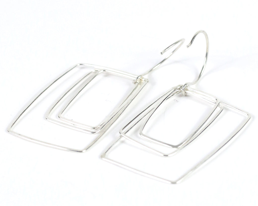 Silver Wires Square Earrings