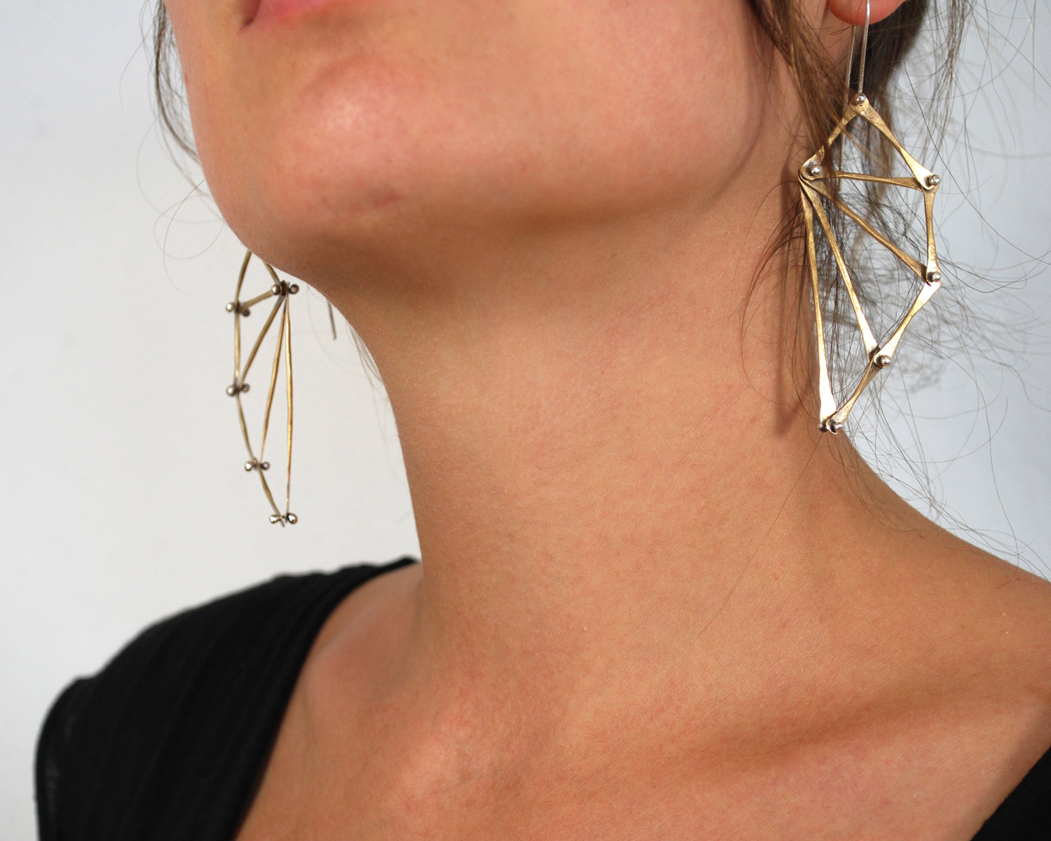 Brass Bat Wing Earrings Olivia de Soria