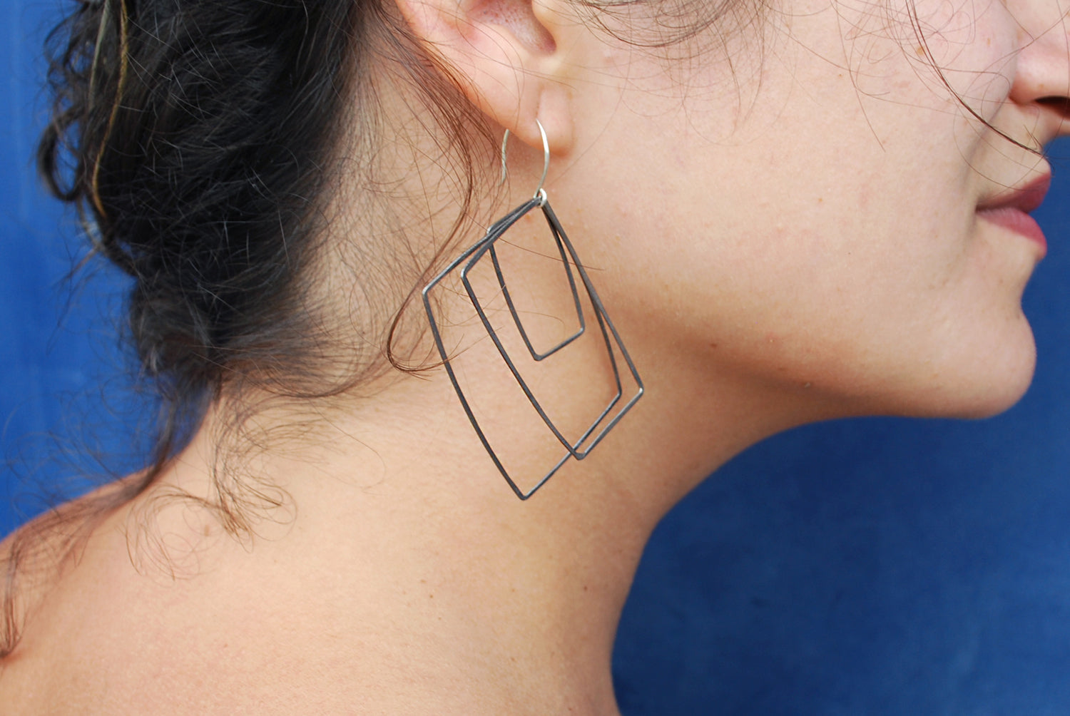 Oxidized Silver Wires Squares Earrings