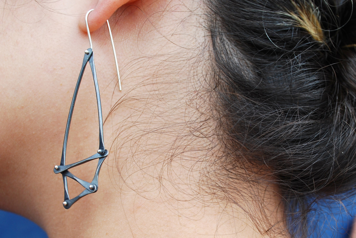 Oxidized Silver Geometric Earrings | Olivia de Soria