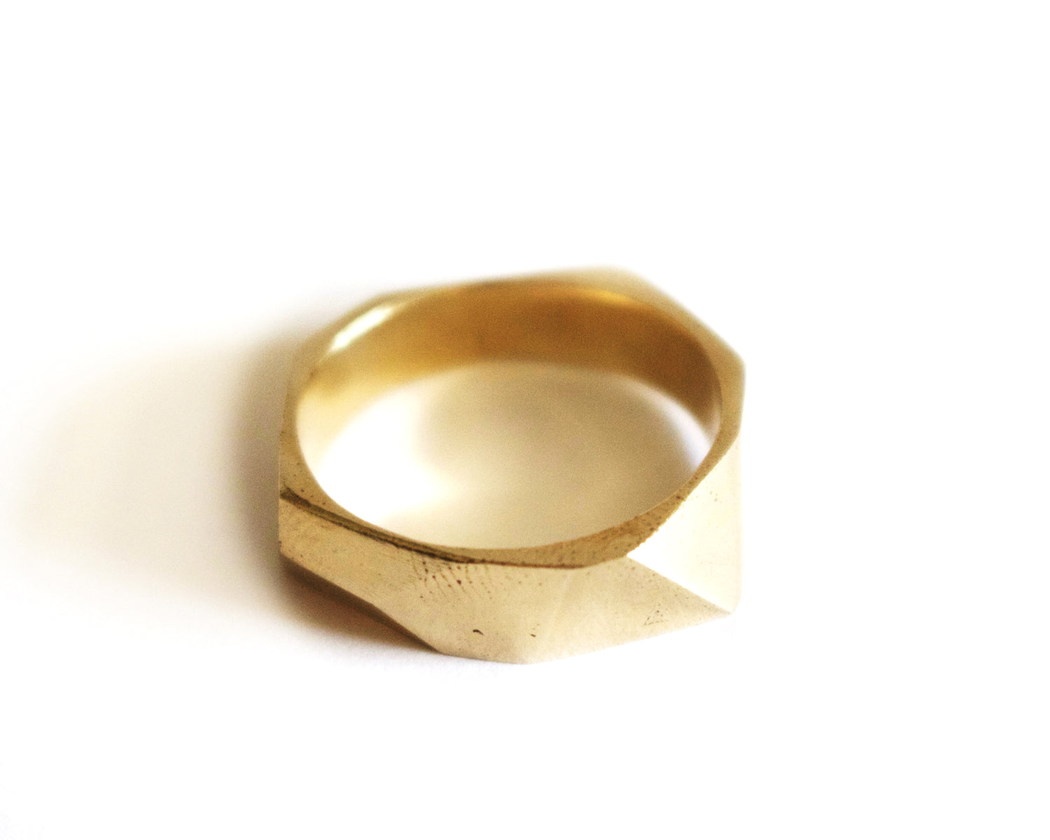Brass Faceted Ring