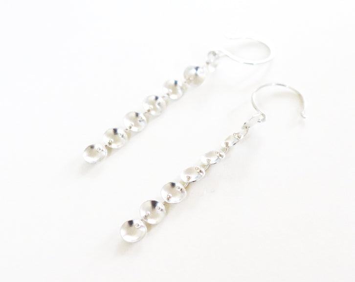 Tiny Oxidized Riveted Silver Cups Earrings | Olivia de Soria