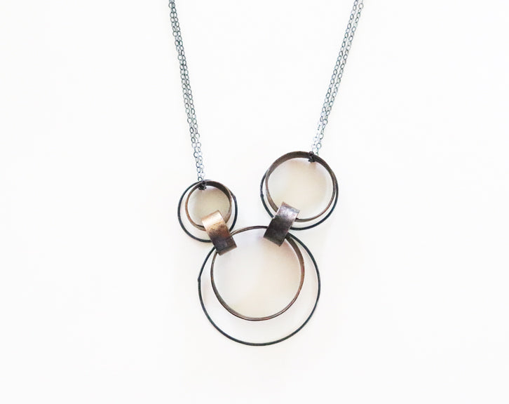 Three Brass and Silver Circles Necklace | Olivia de Soria