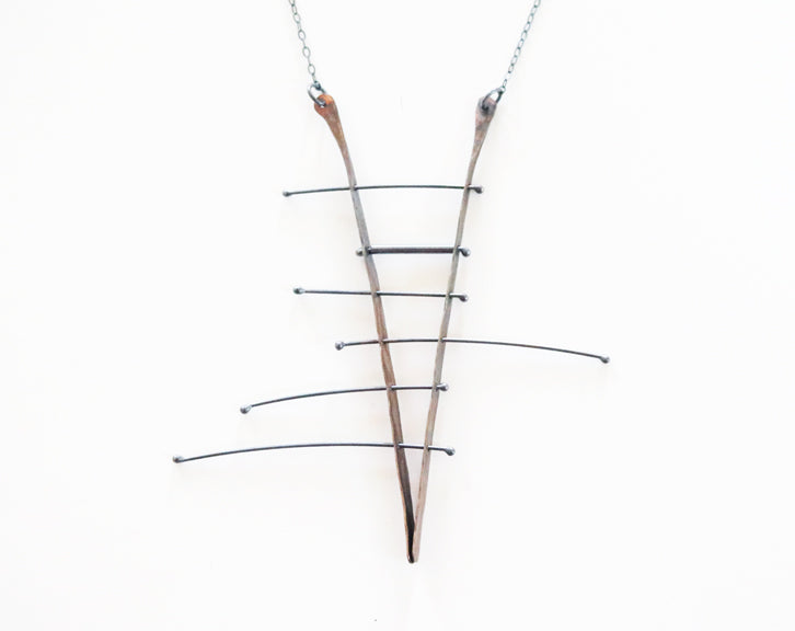 Brass and Silver Kinetic Wires Necklace
