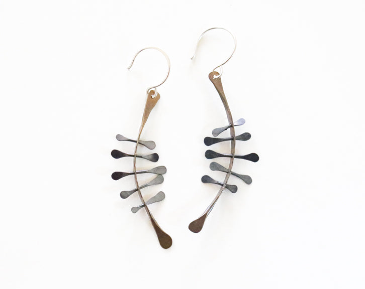 Brass and Forged Silver Wires Earrings