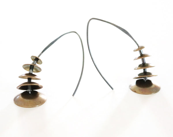 Brass Graduating Dome Earrings