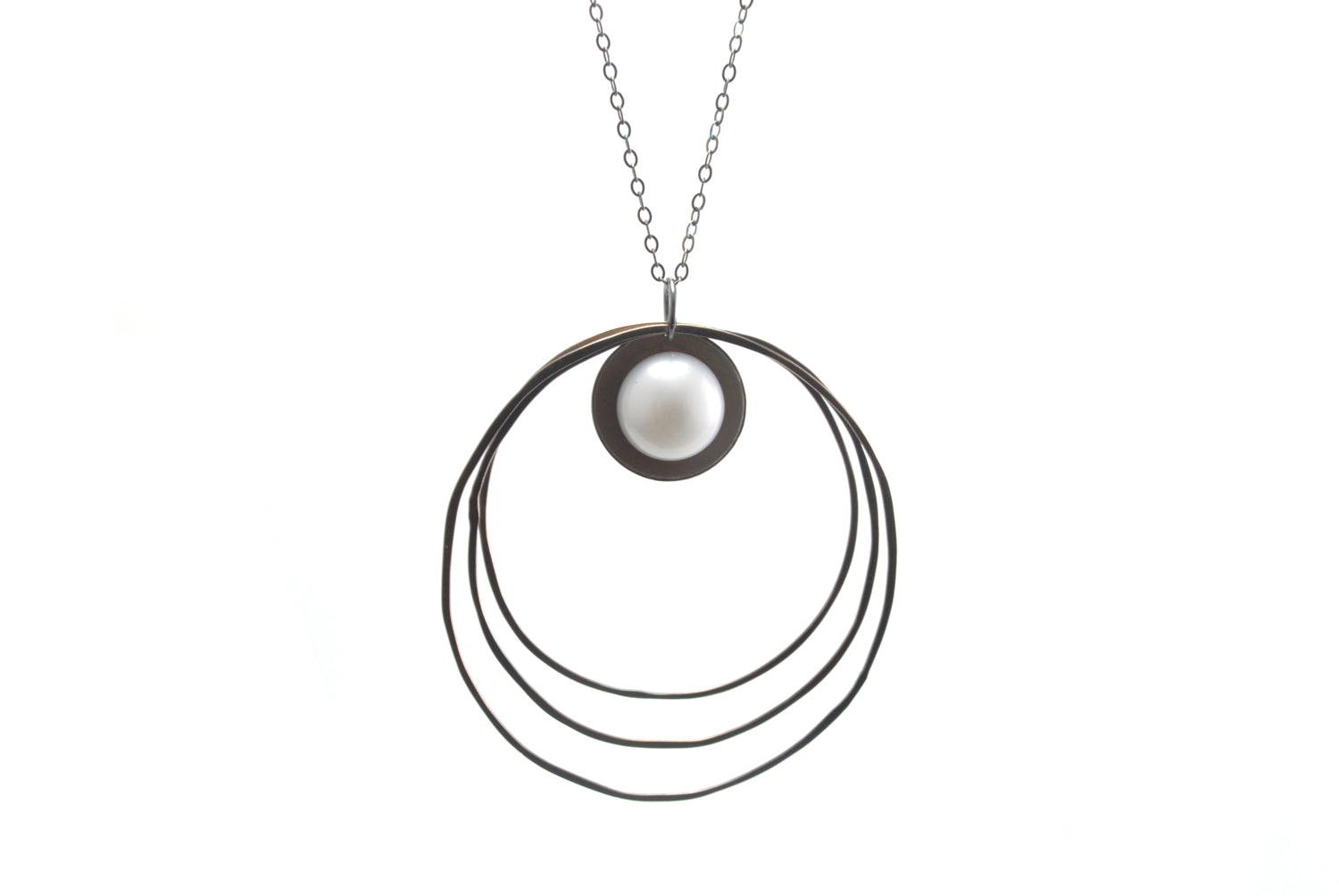 Pearl and Three RIngs Necklace
