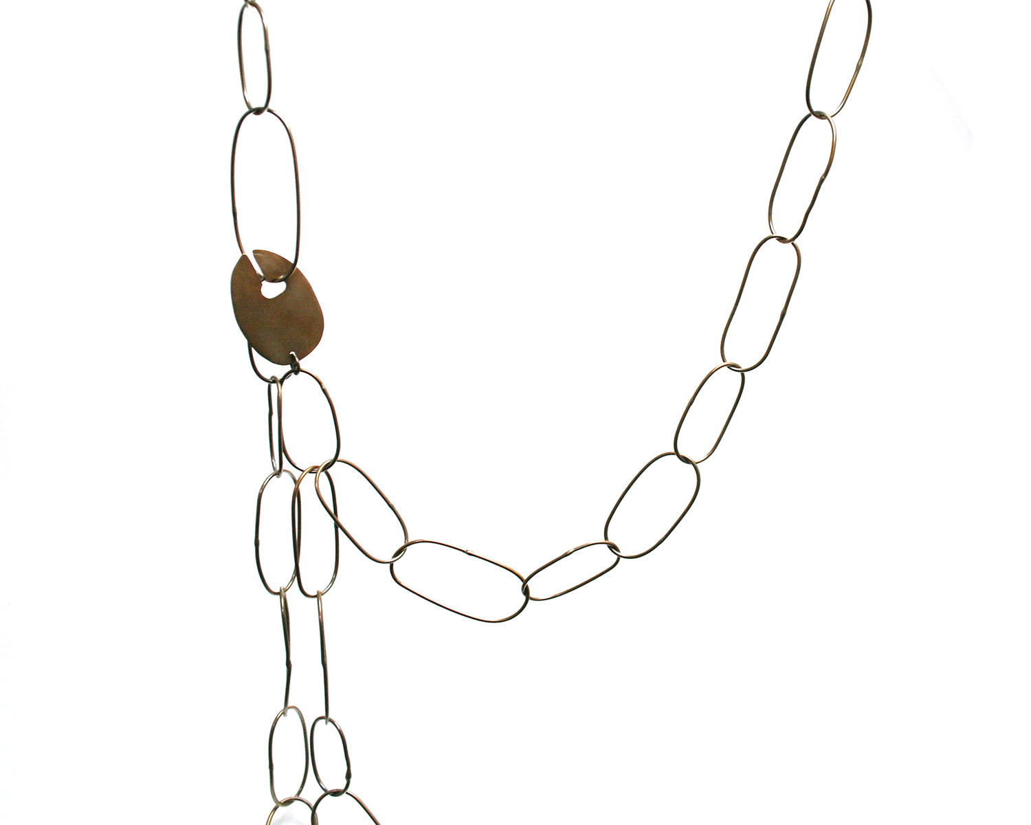 Long Brass Ovals w/ Interchanging Clasp Necklace Olivia de Soria