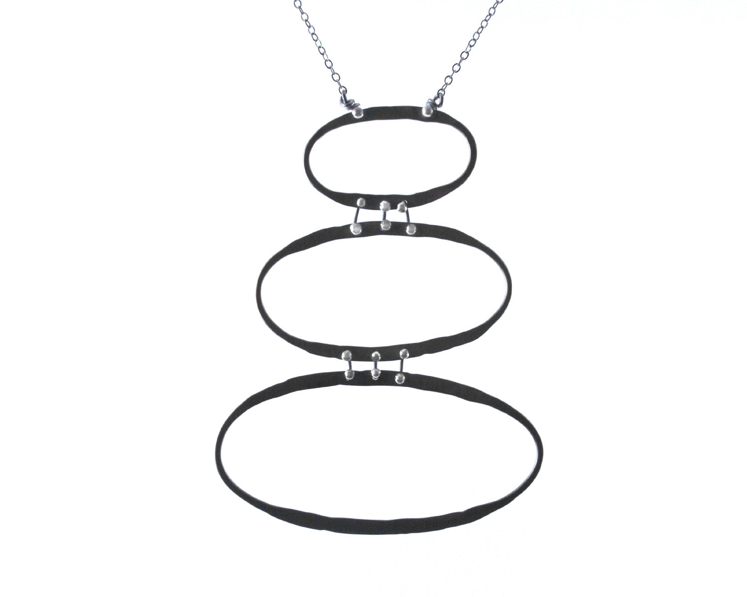 Three Silver Ovals Necklace