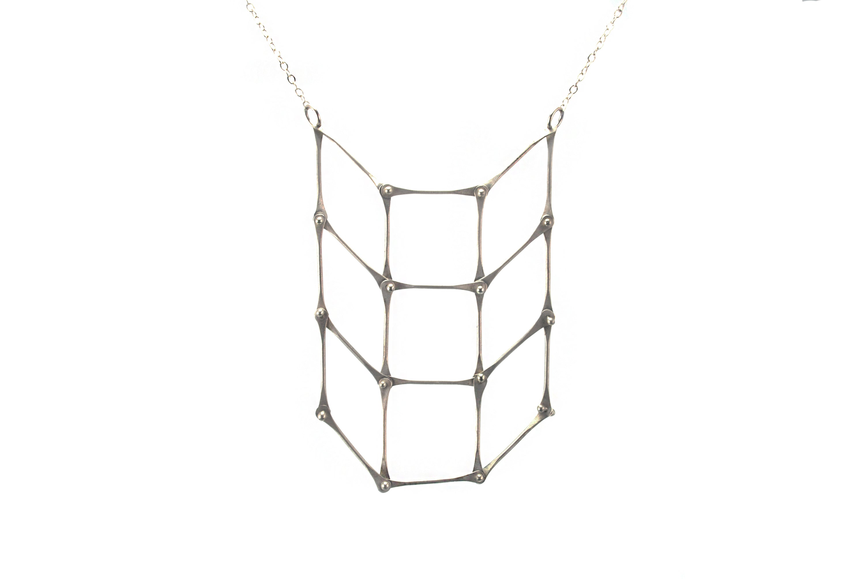 Silver Checkerboard Necklace | Olivia de Soria
