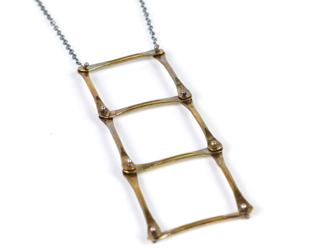 Brass Ladder Necklace Olivia de Soria