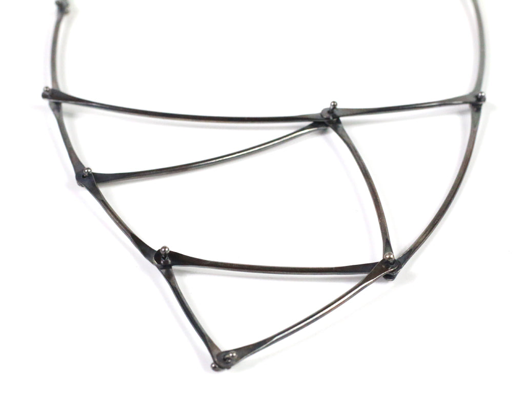 Oxidized Kinetic Triangle Necklace