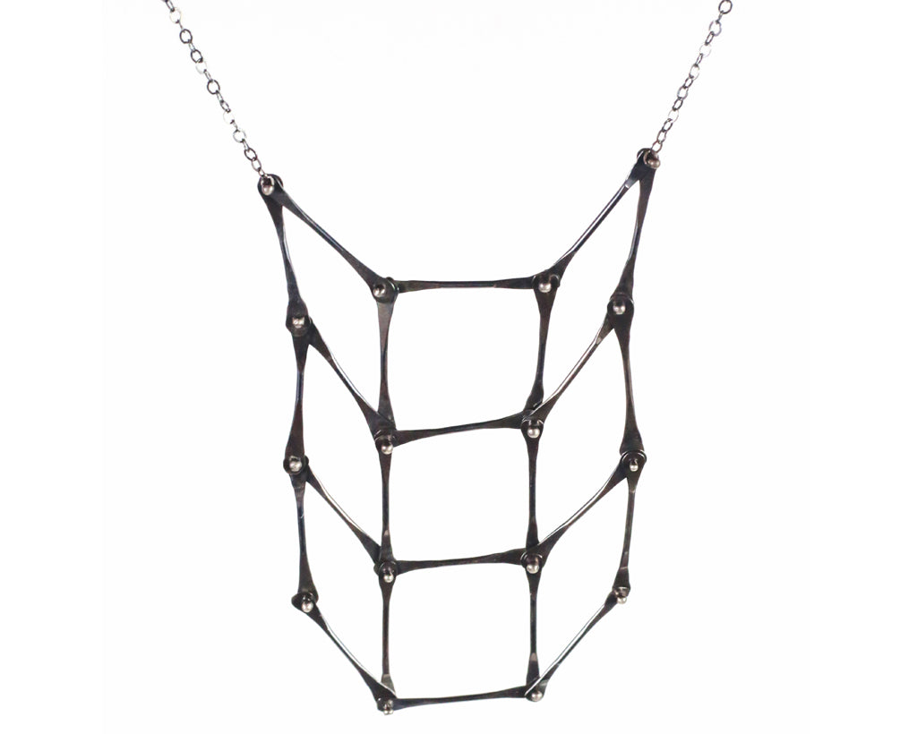Oxidized Silver Checkerboard Necklace | Olivia de Soria