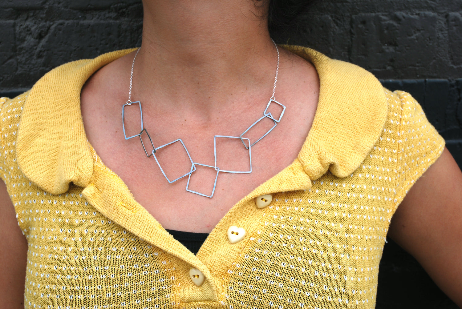 Oxidized Squares and Chain Necklace | Olivia de Soria