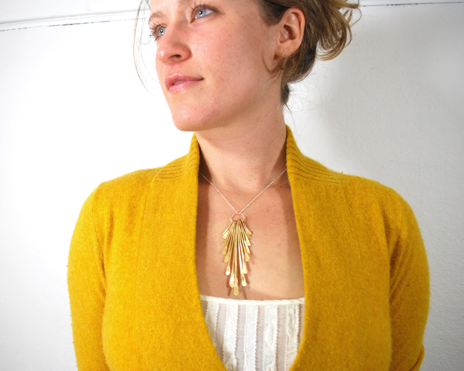 Brass Feathers Necklace Olivia de Soria