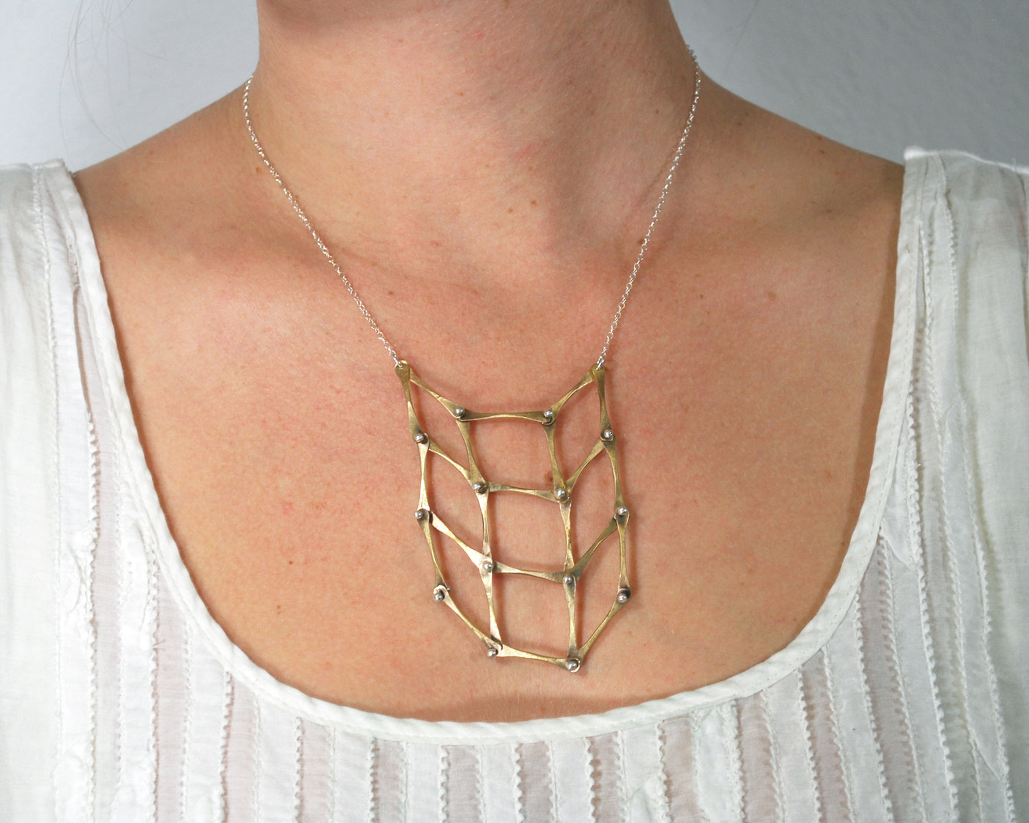 Brass Checkerboard Necklace Olivia de Soria