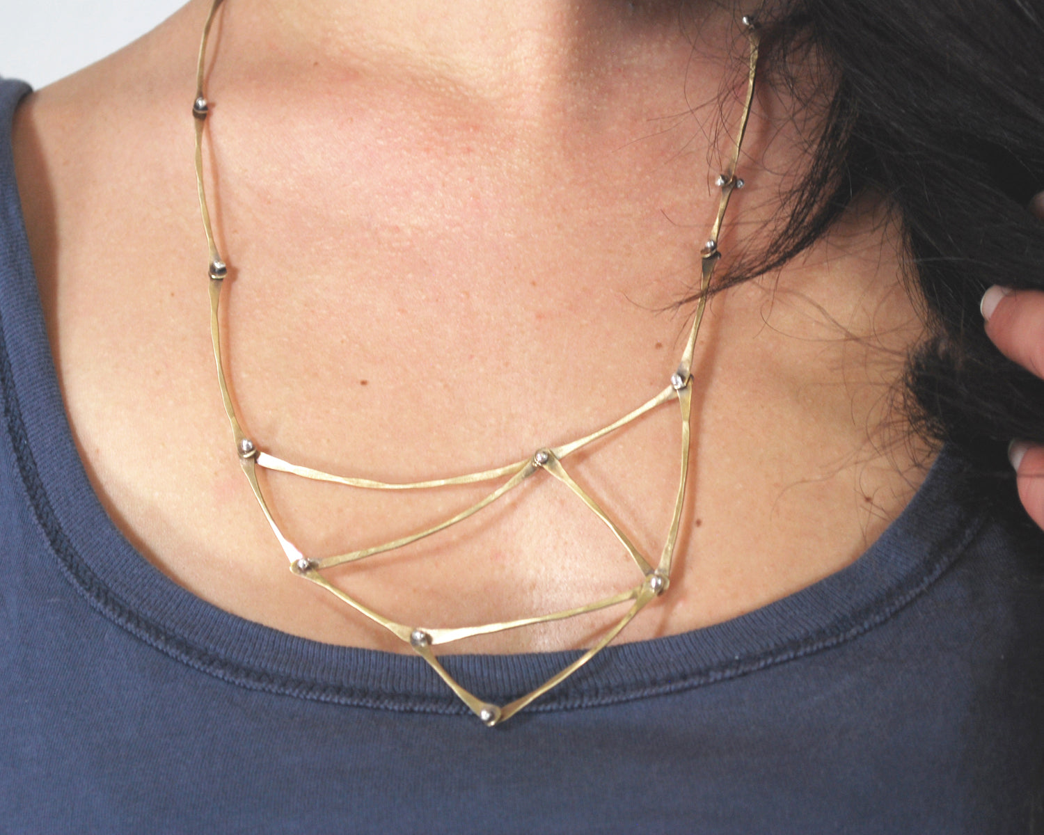 Triangular Brass Kinetic Necklace | Olivia de Soria
