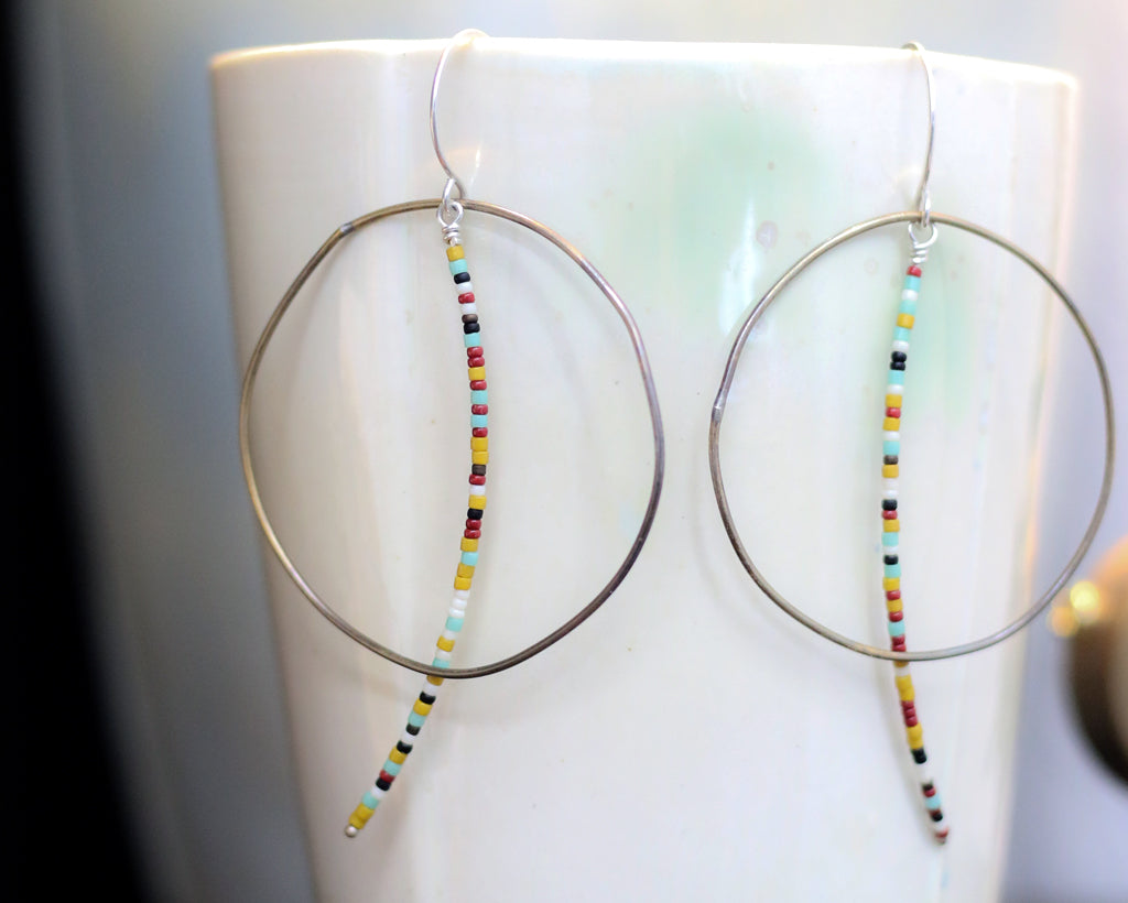 Brass Circular and Beaded Line Earrings Olivia de Soria