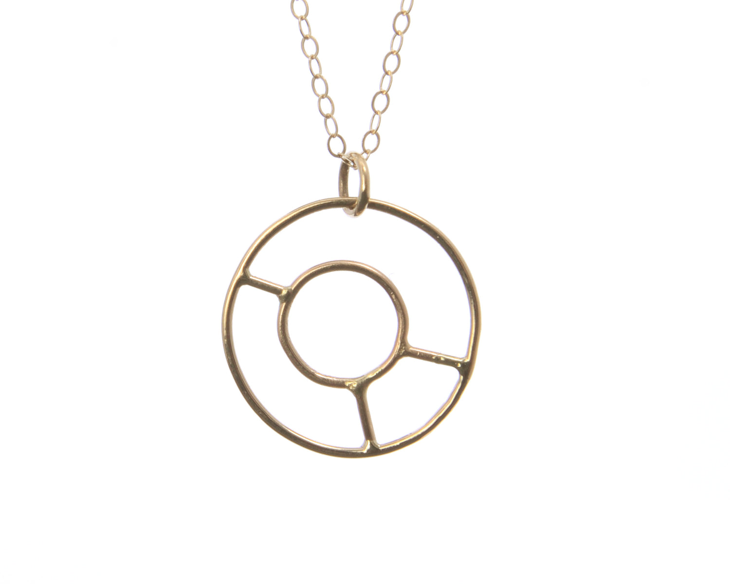 14k Gold Wheel Necklace