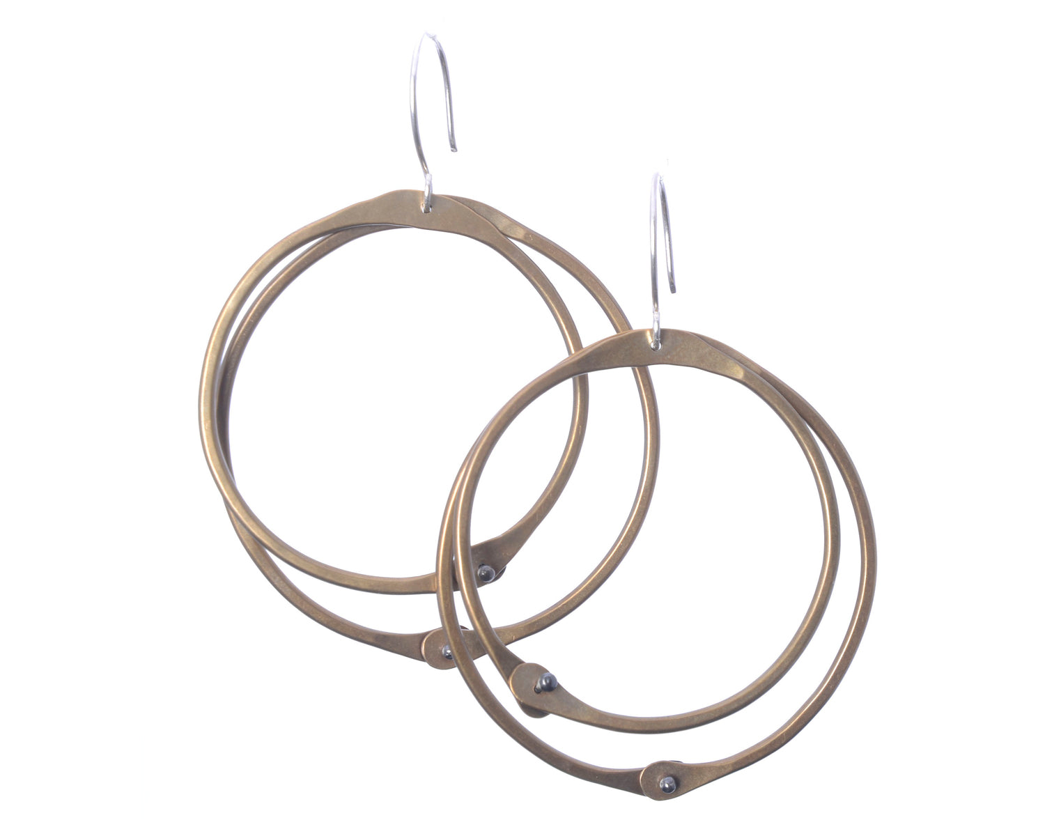 Funky Brass Hoop Earrings