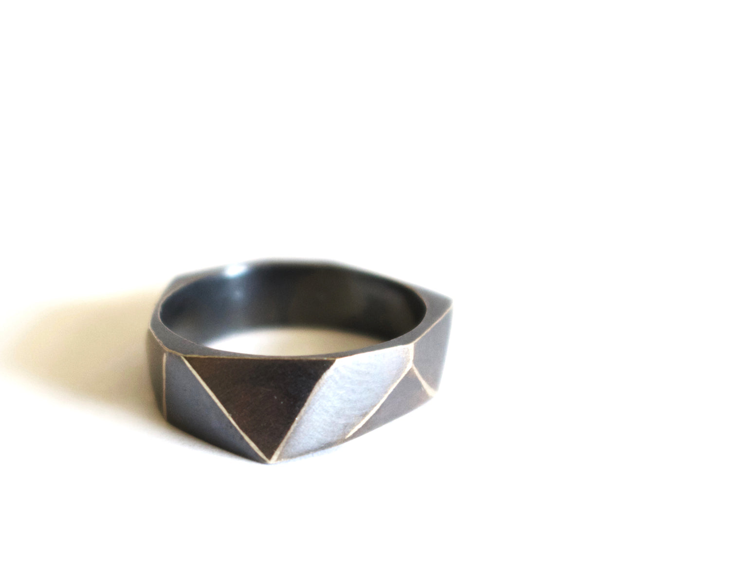 Oxidized Faceted Ring