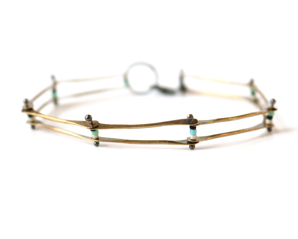 Brass Riveted Bracelet Olivia de Soria