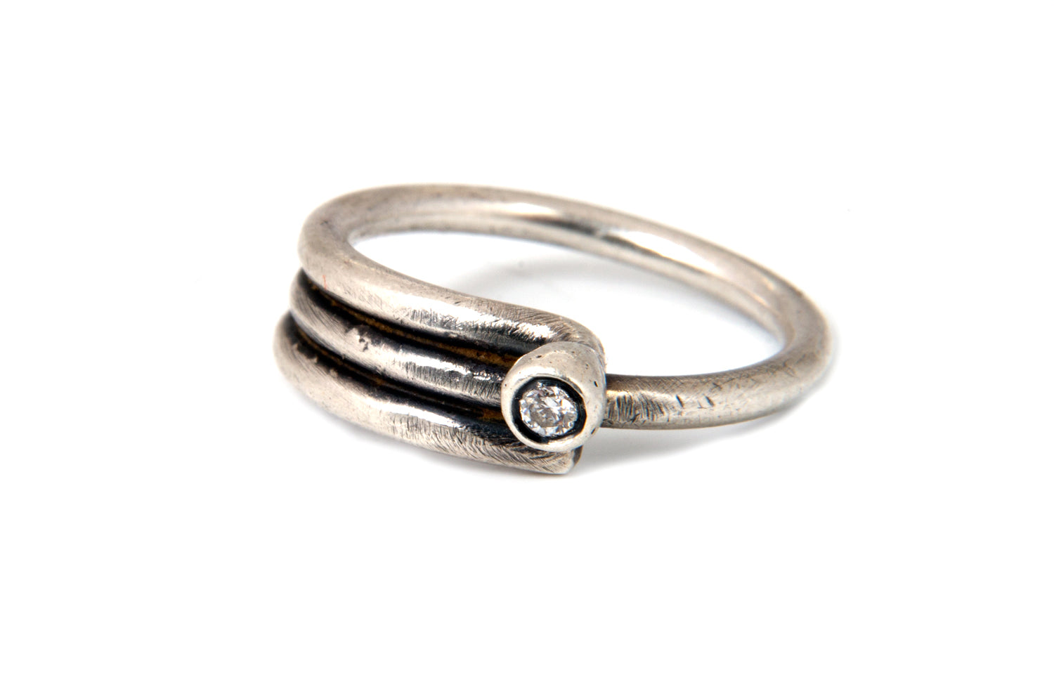 Sterling Silver and White Diamond Industrial Ring