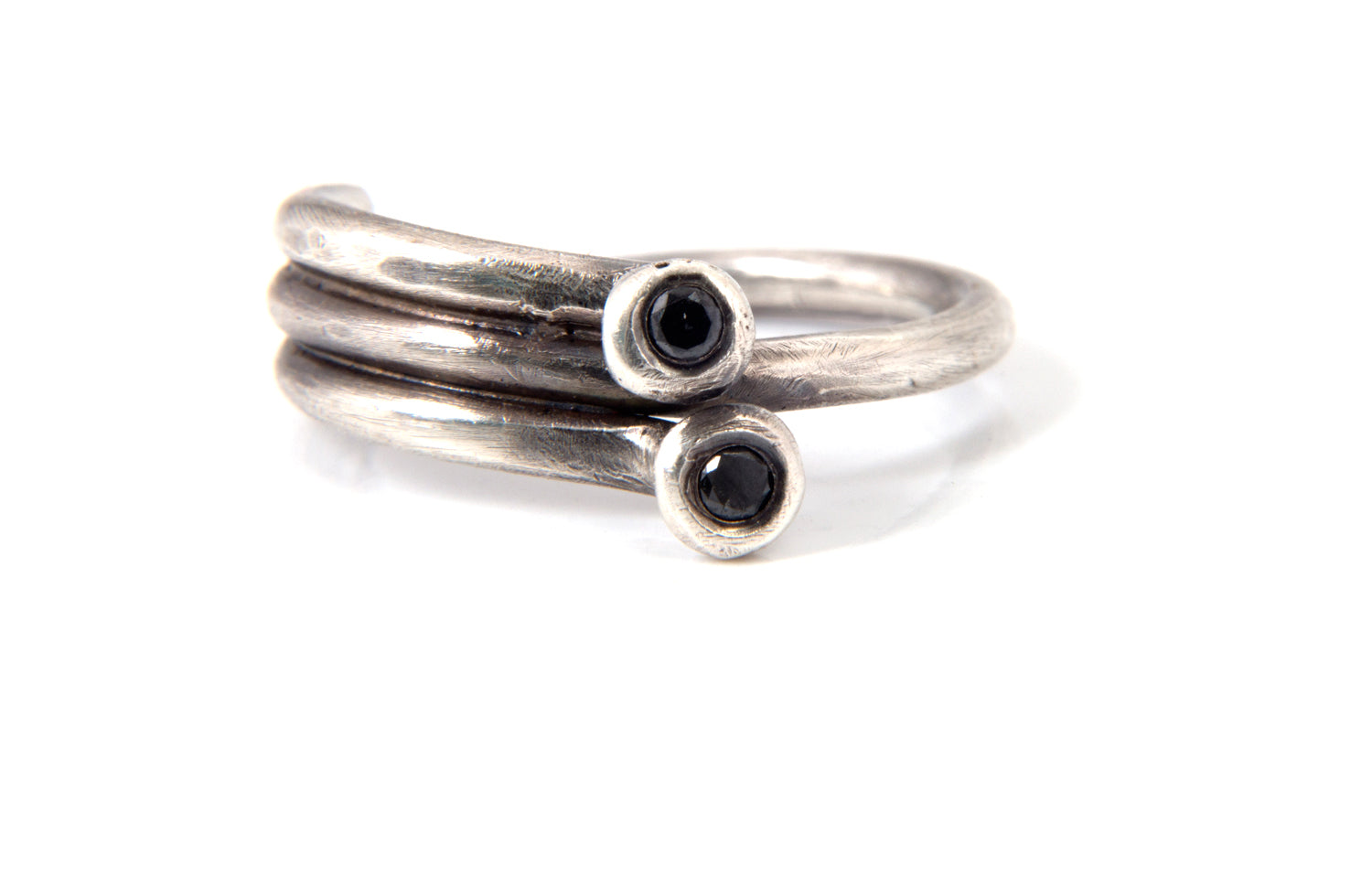 Sterling Silver and Black Diamond Duo Ring