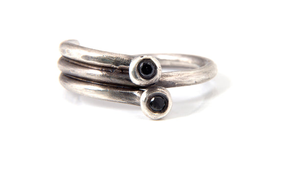 Sterling Silver and Black Diamond Duo Ring | Olivia de Soria
