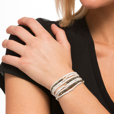 Silk Wrap Bracelet - White & Pyrite