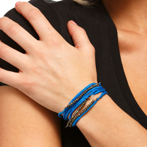 Silk Wrap Bracelet - Blue & Pyrite