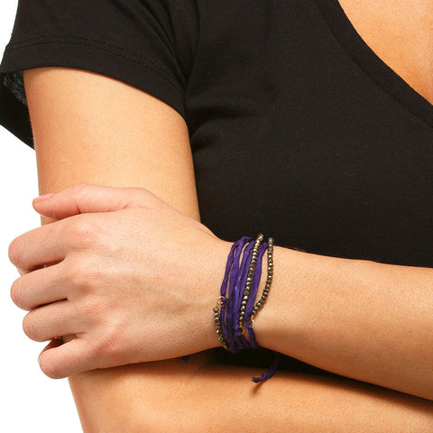 Silk Wrap Bracelet - Purple & Pyrite