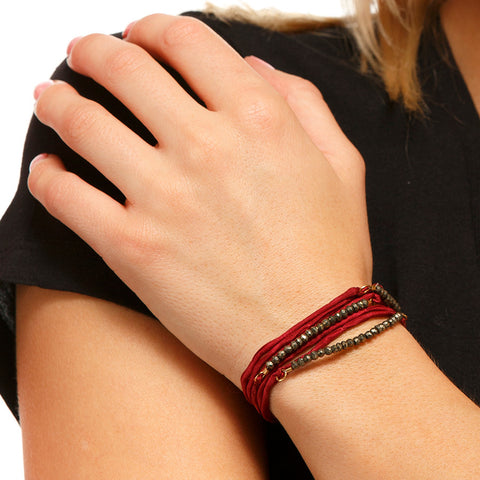 Silk Wrap Bracelet - Red & Pyrite