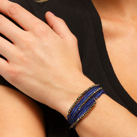 Silk Wrap Bracelet - Navy & Pyrite