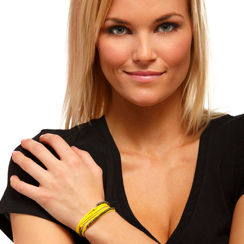 Silk Wrap Bracelet - Yellow & Pyrite