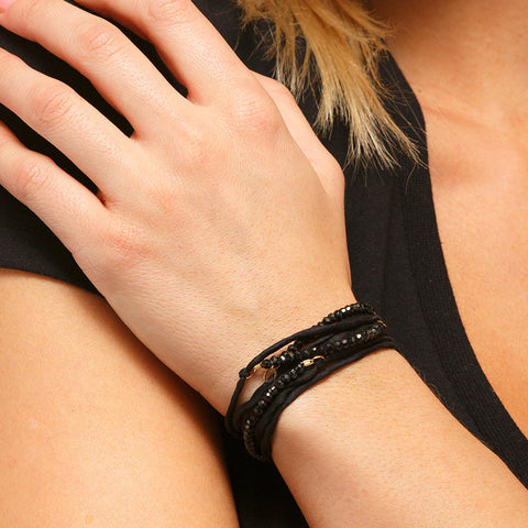 Silk Wrap Bracelet - Black on Black