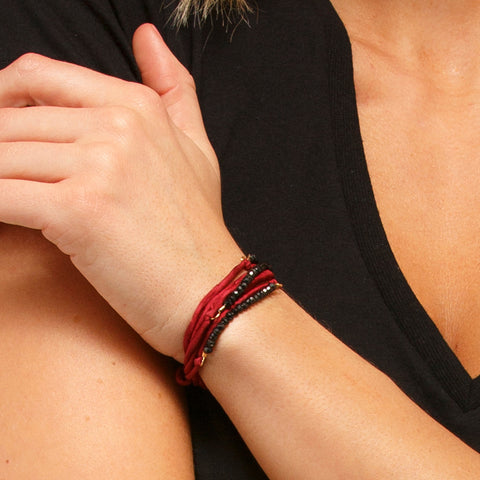 Silk Wrap Bracelet - Black on Red