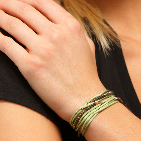 Silk Wrap Bracelet - Lt. Green & Pyrite